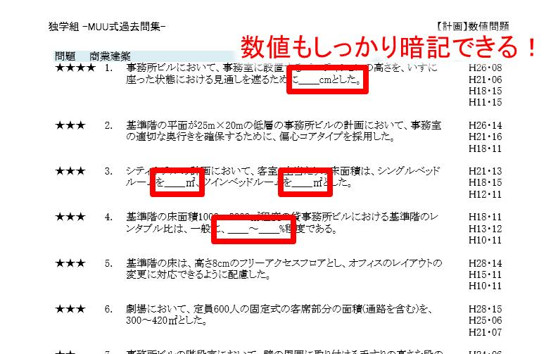 サンプル数値【一級建築士過去問ダウンロード独学組】